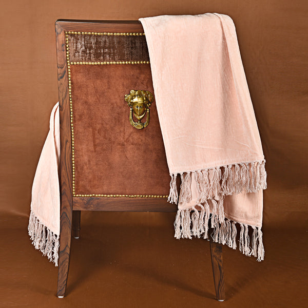 Blush Pink Natural Fabric Tasseled Throw