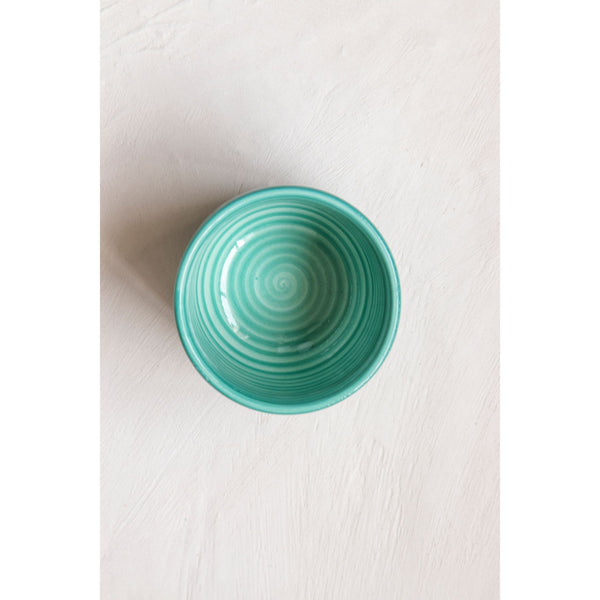 Set of 4 Hand-Painted Sea Green Ceramic Bowls – Small