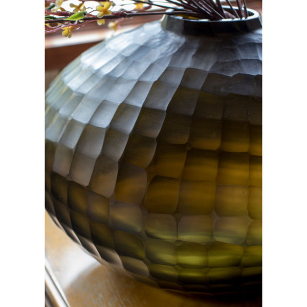 Olive Green Cube Cut Glass Vase - Medium