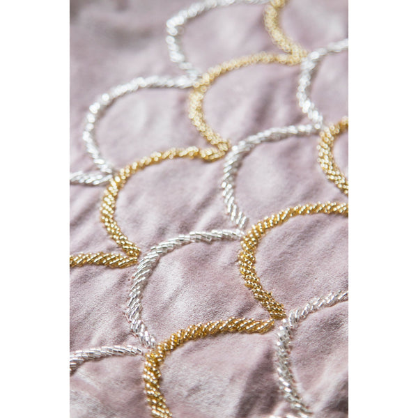 Embroidered Decorative Table Runner – Blush Pink