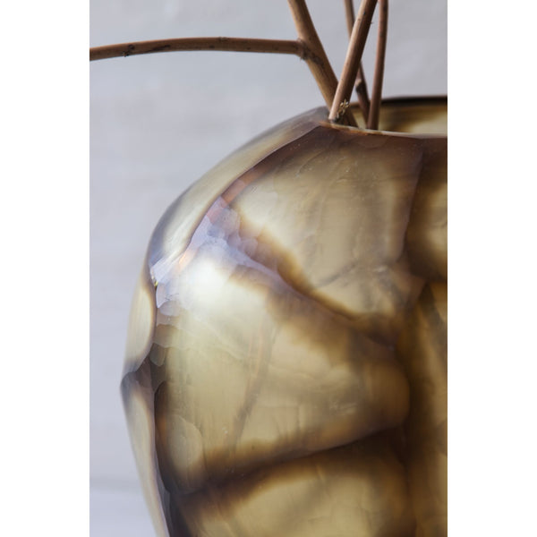Butter Brown Cubi Cut Glass Vase