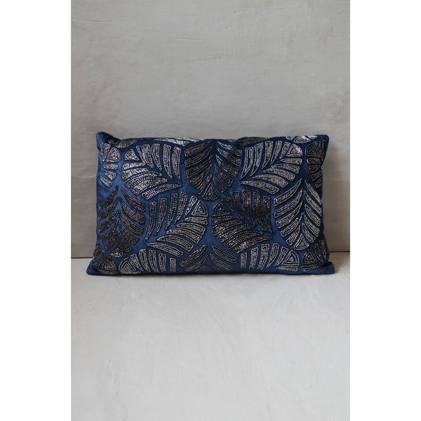 Royal Blue Duck Cushion with Leaf Embellishment(Including Filler)