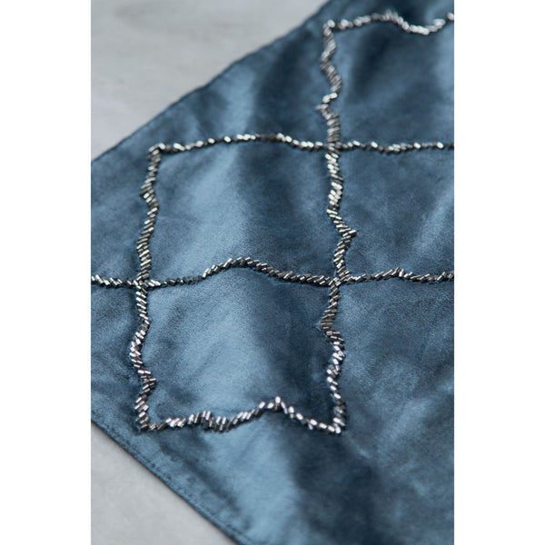 Embroidered Decorative Table Runner – Midnight Blue