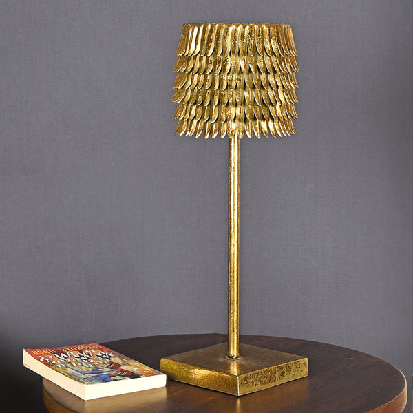 Ornate Table Lamp with Gold-Leaf Design