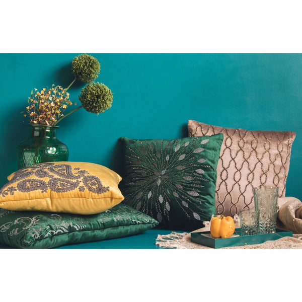Royal Green Embroidered Square Cushion (Including Filler)