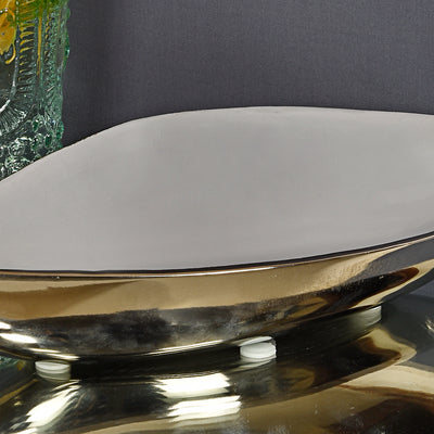 Decorative Metal Enamel Leaf Platter-Grey