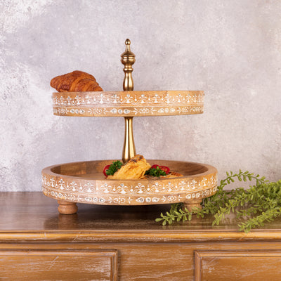 Brown 2 Tier Cake Stand - Hand Painted