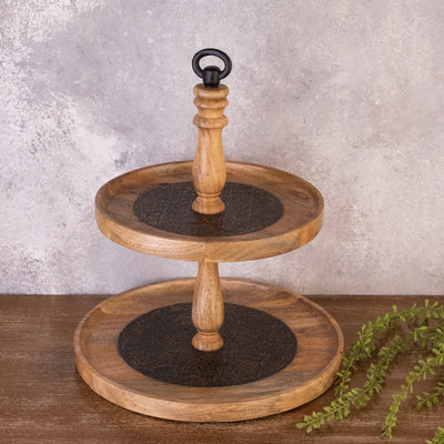 Brown 2 Tier Cake Stand - Metal Inlay