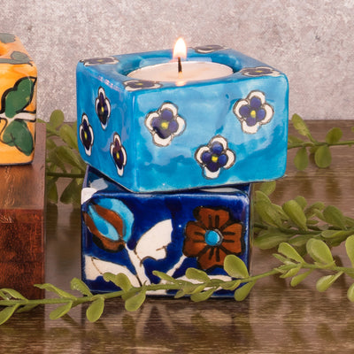 Hand Painted Ceramic Diya (Set of 4)