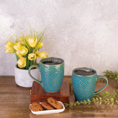 Olive Blue Ceramic Mugs (Set of 6)