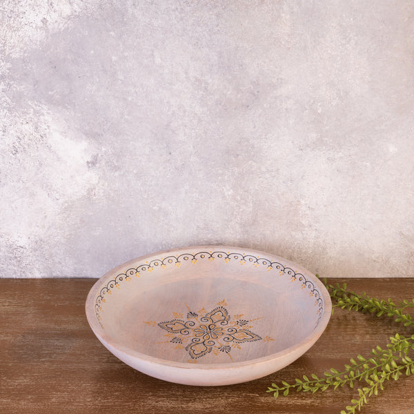 Grey Wooden Round Hand Painted Platter