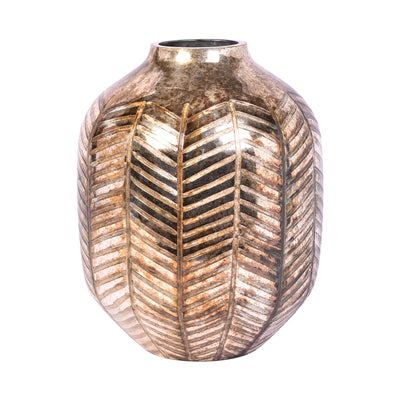 Leaf Cut Glass Vase - Gold