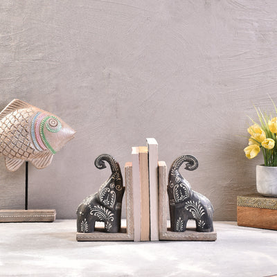 Wooden Craved Book End
