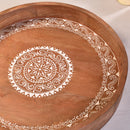 Wooden Round Hand Painted Tray