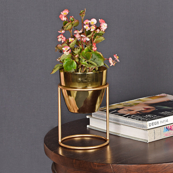 Petite Table Planter - Gold