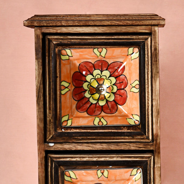 DECORATIVE WOODEN CABINET WITH 3 CERAMIC DRAWERS