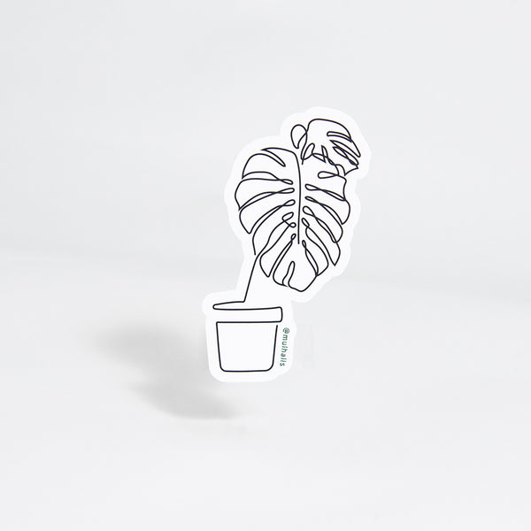Monstera Line-Drawing Sticker