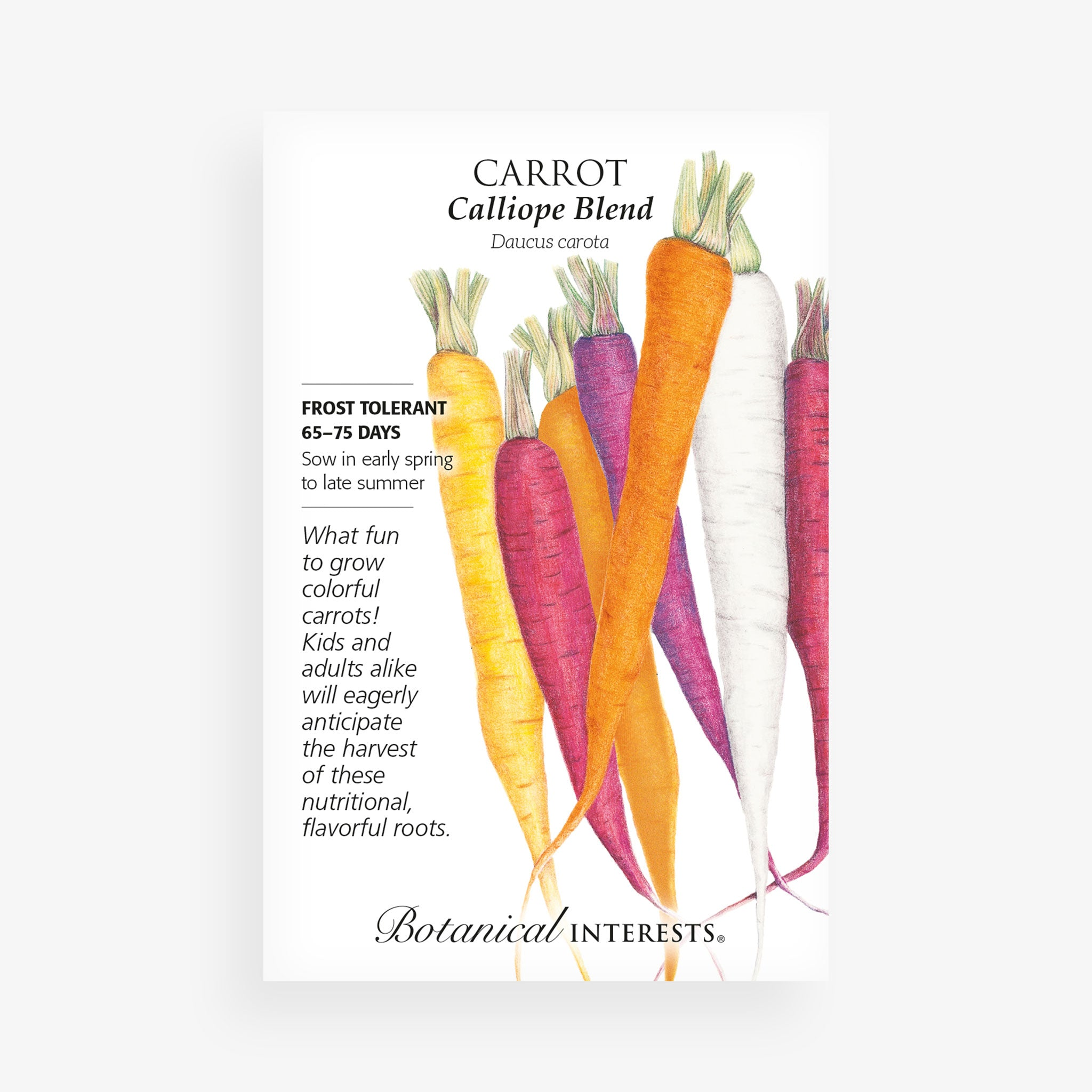 'Calliope Blend' Carrot Seed Packet