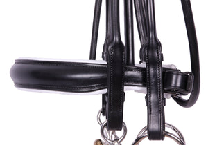 Kingsley Double Bridle Rolled Leather Black/White Full