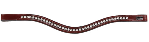 Kingsley Curve Browband Chestnut/Clear Crystals Cob