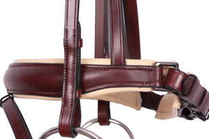 Kingsley Snaffle Bridle Flat Leather Chestnut/Cream Cob