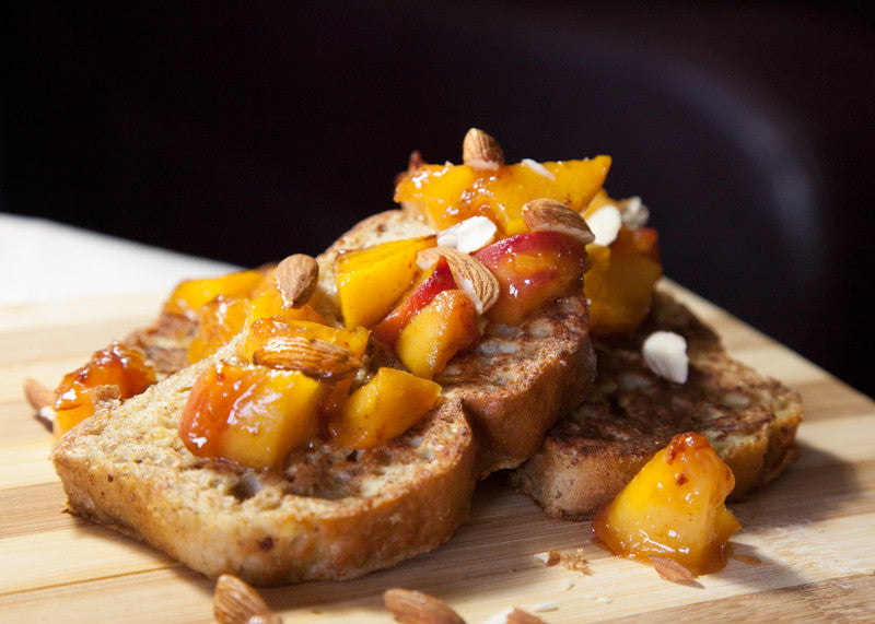 Gluten Free Focaccia French Toast with Peaches & Almonds