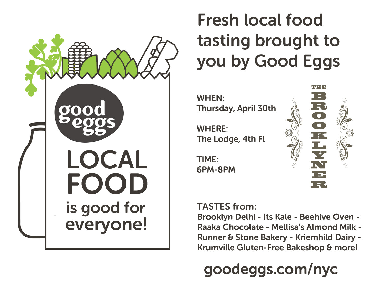 Local food tasting at The Brooklyner.  Come join us!