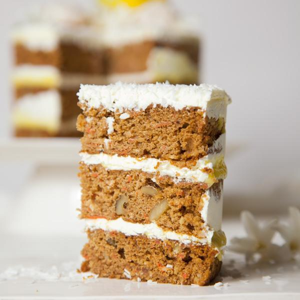 A slice of Carrot Layer Cake   Gluten-free - Krumville Bake Shop
