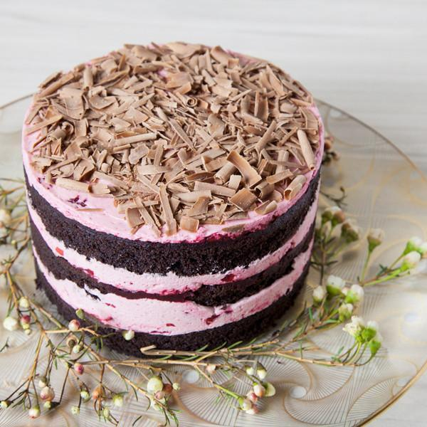 Cherry Chocolate Cake with chocolate curls topping Gluten-free - Krumville Bake Shop