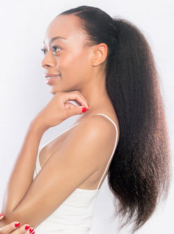 curly hair type, high ponytail with extensions