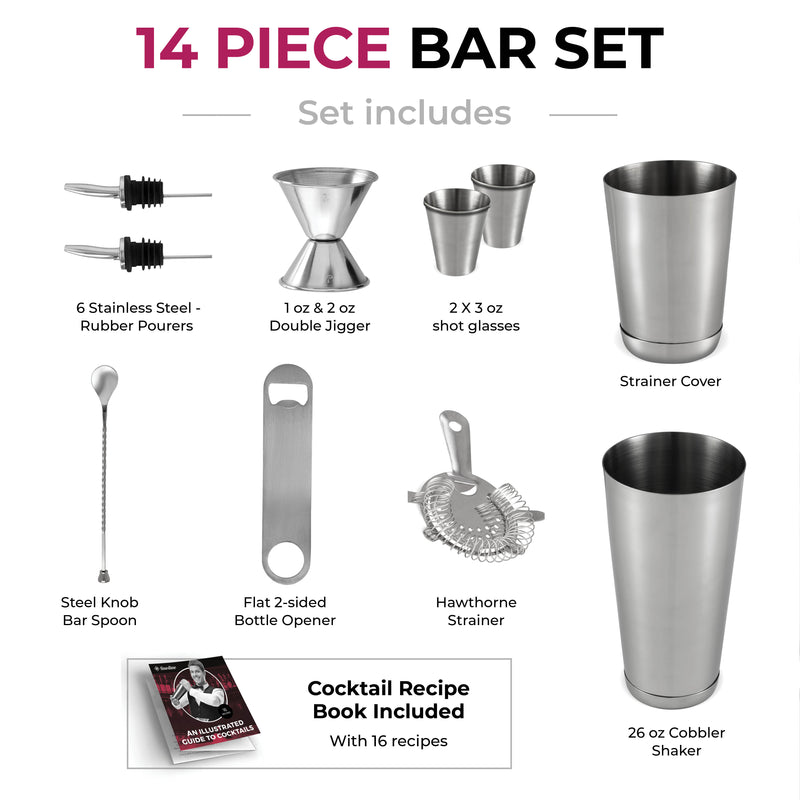Premium Cocktail Shaker Bar Tools Set (14 piece) - Finedine | The Best And Beyond