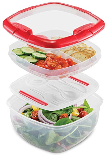 Dual Compartment Lunch Container Set - BPA-Free Airtight Bento Box - Cutlery Set With Salad Dressing Container To Go - Microwave and Dishwasher Safe Lunch Containers, Perfect Size for Lunch Box