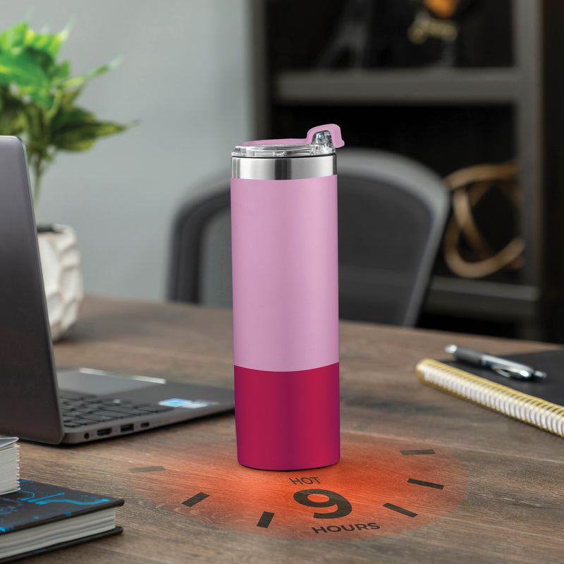 Pink Stainless Steel 18 Oz. Water Bottle with Flip Top Lid; Vacuum Insulated Tumbler, Hot 'n Cold