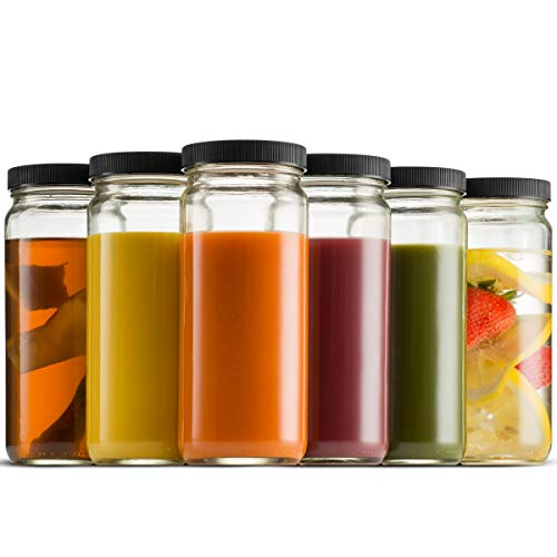 Travel Glass Drinking Bottle Mason Jar 16 Ounce [6-Pack] - Finedine | The Best And Beyond