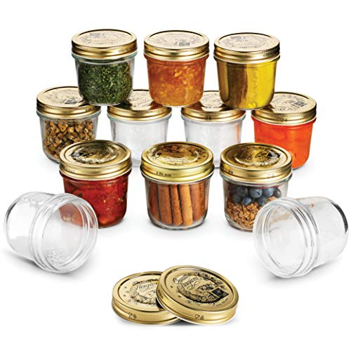 Wide Mouth Mason Jars 6 ¾ Ounce Glass Jar with Metal Airtight Lid (12 Pack) - Finedine | The Best And Beyond