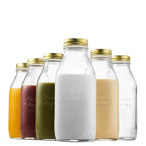 Glass Milk Bottle 33.75 Ounce/1 Liter with Airtight Lid (6 Pack) - Finedine | The Best And Beyond