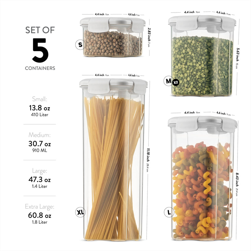 Airtight Food Storage Containers With Lids [5 Piece] BPA Free Plastic Kitchen Pantry Storage Containers
