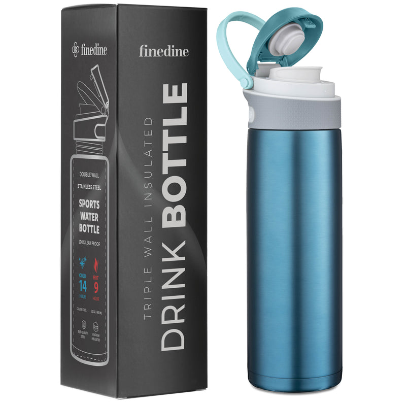 Triple Insulated Blue Stainless Steel 20 Oz. Water Bottle with Flip Top Lid; Hot 'n Cold Tumbler