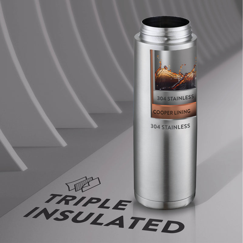 Triple Insulated Black Stainless Steel 20 Oz. Water Bottle with Flip Top Lid; Hot 'n Cold Tumbler