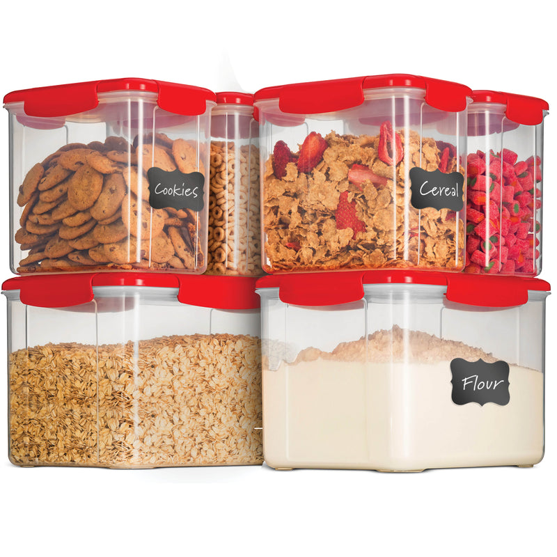 Airtight Food Storage Containers With Lids [6 Piece] BPA Free Plastic Kitchen Pantry Storage Containers