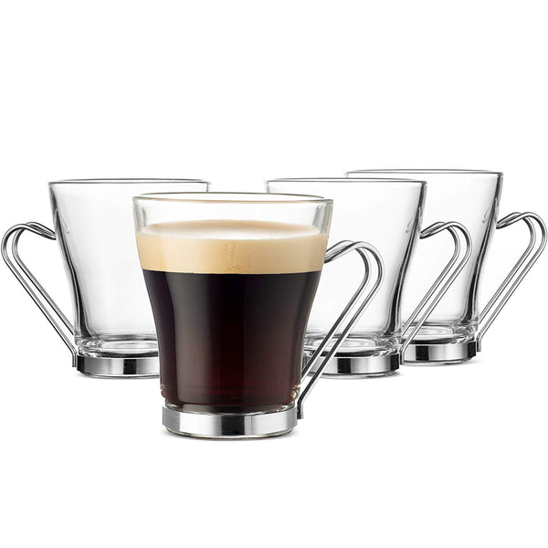 Glass Coffee Mug set - 10 ¾ Ounce (6 Pack) with Metal Handle - Finedine | The Best And Beyond