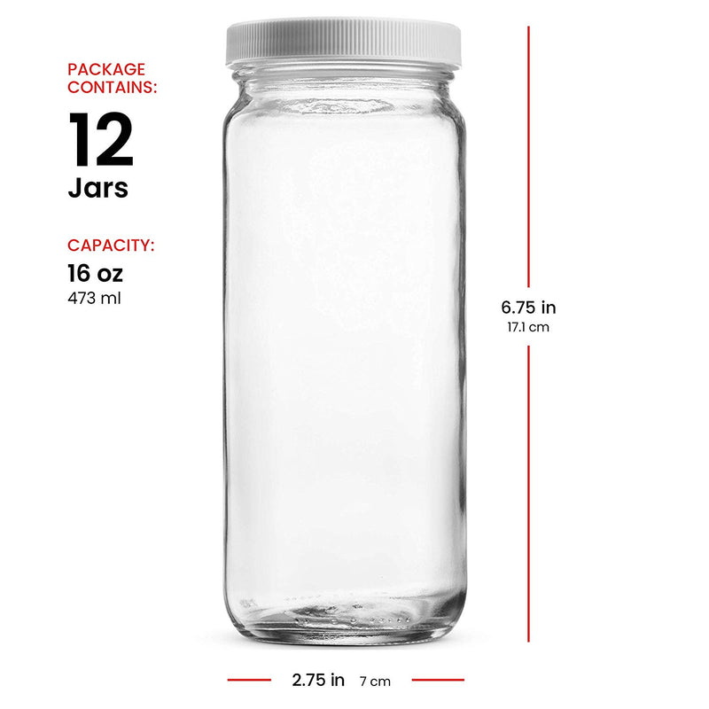 Travel Glass Drinking Bottle Mason Jar 16 Ounce [12-Pack] - Finedine | The Best And Beyond