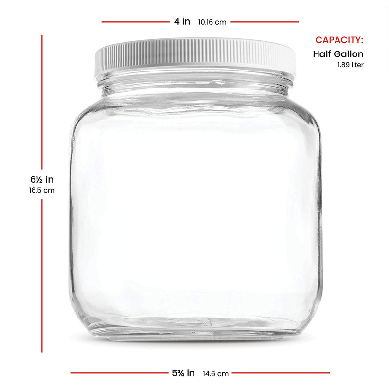 Half Gallon Glass Mason Jar Wide Mouth,(64 Oz ) 4 Pack - Finedine | The Best And Beyond