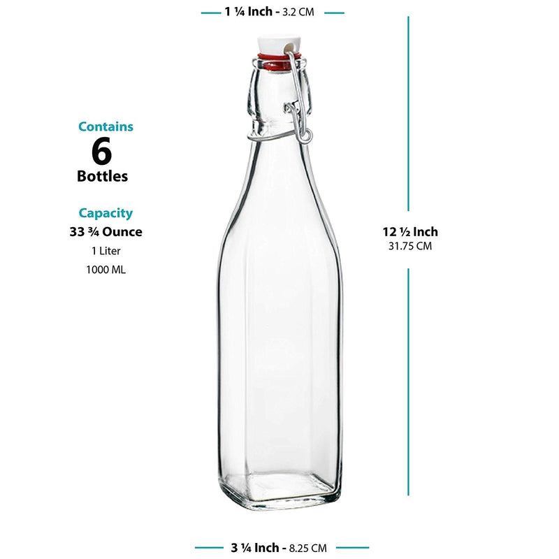 Swing Top Clear Glass SQUARE Bottle With Airtight Stopper - 33.75 oz (6 Pack) - Finedine | The Best And Beyond