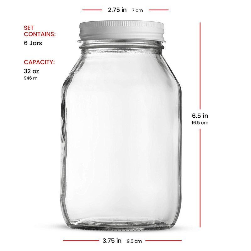 Glass Mason Jars 32 Ounce (1 Quart) 6 Pack Regular Mouth, - Finedine | The Best And Beyond