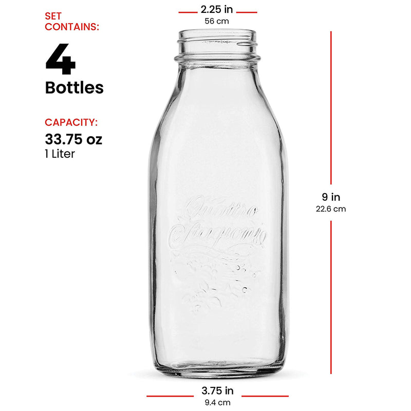Glass Milk Bottle 33.75 Ounce/1 Liter (4 Pack) with Airtight Lid - Finedine | The Best And Beyond