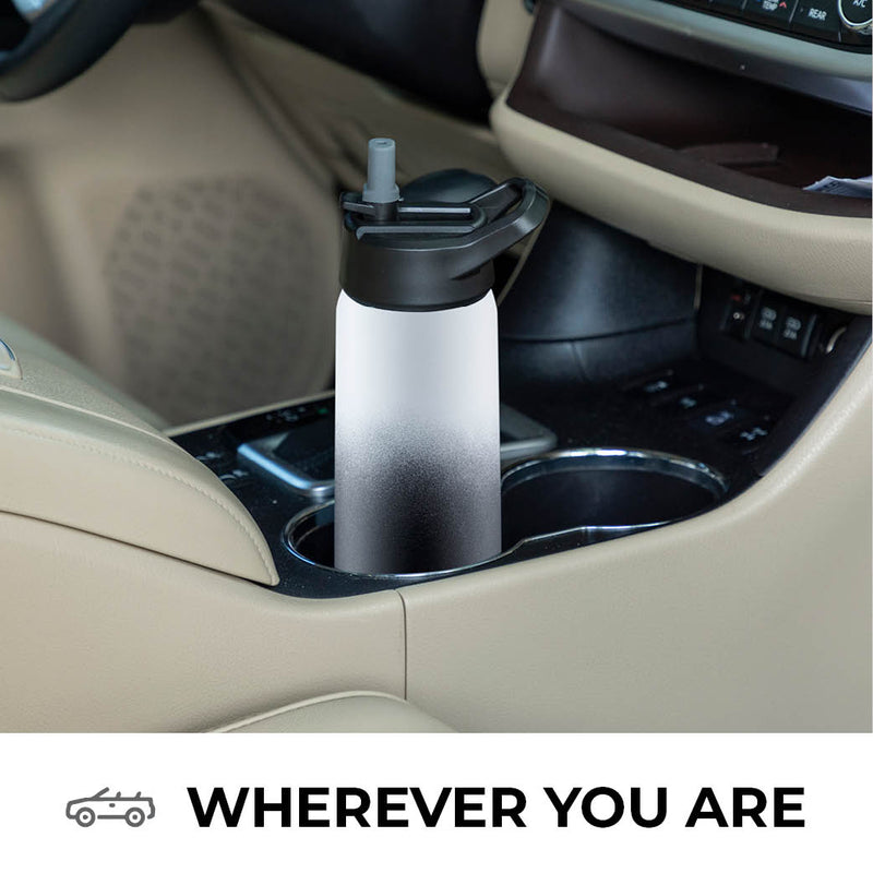 Black & White Stainless Steel 26 Oz. Water Bottle with 3 Lids; Vacuum Insulated Tumbler, Hot 'n Cold