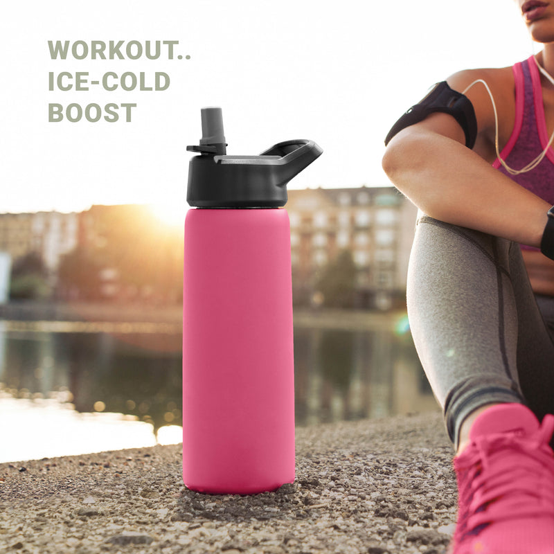 Pink Stainless Steel 26 Oz. Water Bottle with 3 Lids; Vacuum Insulated Tumbler, Hot 'n Cold