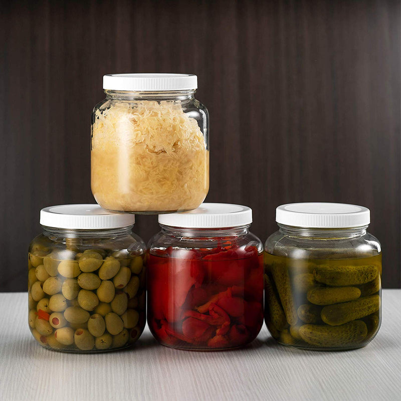 Half Gallon Glass Mason Jar (64 Oz) Plastic Airtight Lid 2 Pack - Finedine | The Best And Beyond