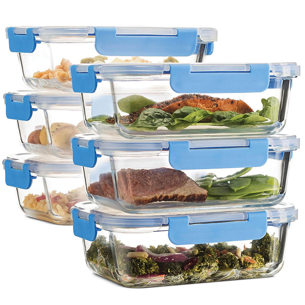 Superior Glass Meal Prep Containers - 6-pack (35oz) Freezer to Oven Safe Lunch Containers - Finedine | The Best And Beyond